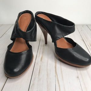 Anthro Leifsdottir Black Leather Jenni  Heels Sz 8